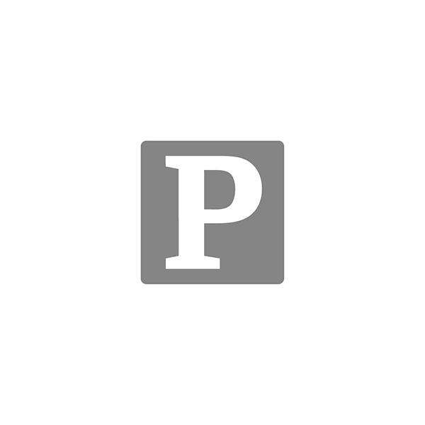 Valkoinen muovista valmistettu vainajapussi vetoketjulla ja kantokahvoilla.