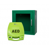 Zoll AED Plus defibrillaattori 5 vuoden CPR-D elektrodeilla + ARKY metallinen AED kaappi hälytyksellä, vihreä, AED-logolla