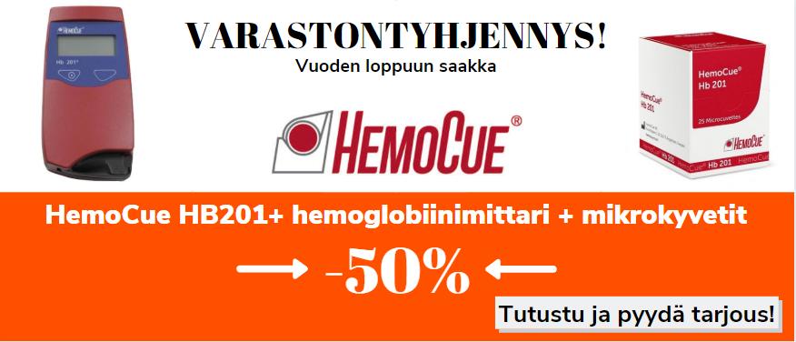 HemoCue varastontyhjennys! HemoCue HB201+ hemoglobiinimittari + mikrokyvetit nyt valtavassa 50% alennuksessa.
