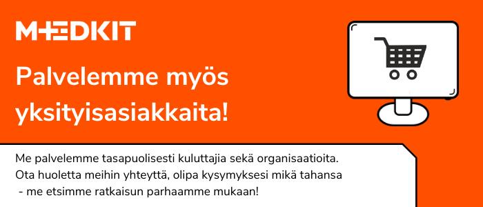 MedKit verkkokauppa myy myös yksityisasiakkaille! Tervetuloa kaupoille.